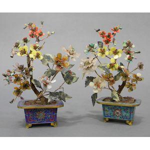 Pair of Hardstone Flowerpots