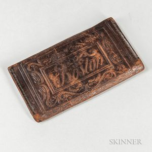 Embossed Leather Boston Wallet Identified to Ezra Tilden