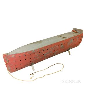 Red-painted and Pierced Tin Hull Model