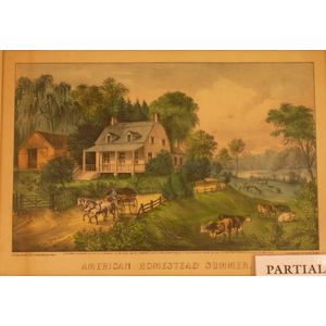 Lot of Four Framed Currier and Ives Lithographs of American Homestead