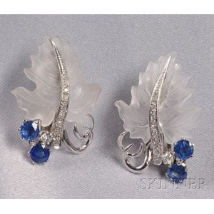 Platinum, Carved Rock Crystal, Sapphire, and Diamond Leaf Earclips