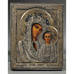Russian Icon with Sterling Silver Riza Depicting Kazan Mother of God