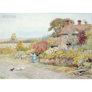 Thomas Henry Hunn (British, 1857-1928)      Lot of Two English Cottage Scenes: Nr Chipstead Surrey