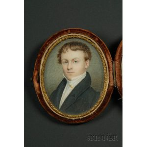 Portrait Miniature on Ivory and a Dageurreotype of a Young Man