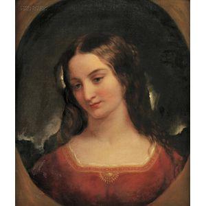 School of Thomas Sully (American, 1783-1872)      Portrait Head of a Woman