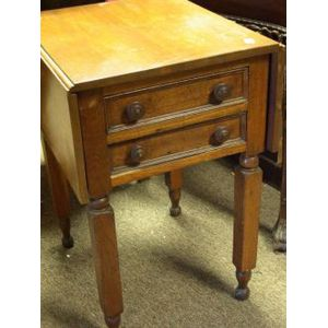 Classical Walnut Drop-leaf Two-Drawer Work Table.