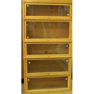 "Hale ""Softone"" Oak Five-Stack Barrister Bookcase"
