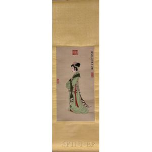 Hanging Scroll Embroidered Textile Painting