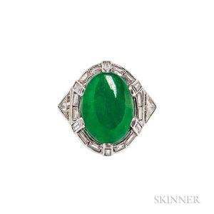 Platinum, Jade, and Diamond Ring