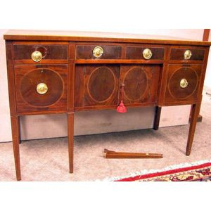 Federal-style Inlaid Mahogany and Mahogany Veneer Sideboard.