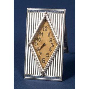 Swiss Silver and Enamel Boudoir Timepiece