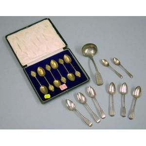 Eight Small English Sterling Silver Spoons, a Pewter Ladle, and a Cased Set of Commemorative George V/Queen Mar...