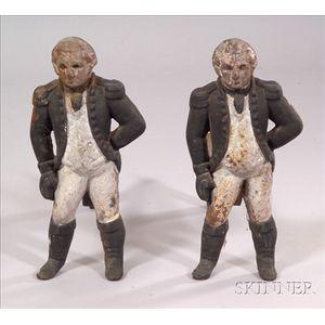 Pair of Painted Cast Iron George Washington Andirons