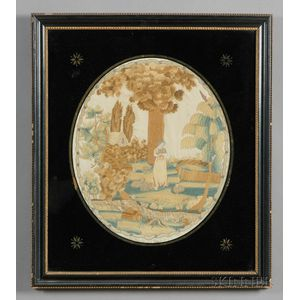 Silk Needlework Picture of a Shepherdess in a Landscape