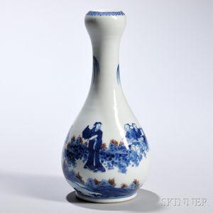 Blue and White Porcelain Bottle Vase