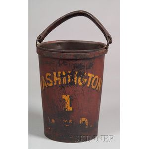 "Painted Leather ""Washington"" Fire Bucket"