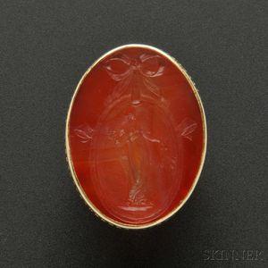 Rare Gold, Carnelian Intaglio, and Enamel Ring, Marie Zimmermann