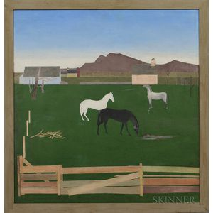 Stefan Hirsch (New York, 1899-1964)      Horses in a Pasture.