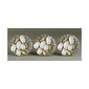 Three Paris Porcelain Oyster Plates