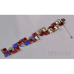 Art Deco Sterling Silver Gem-set Bracelet