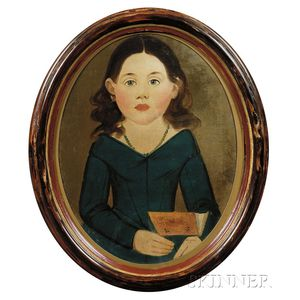 Prior-Hamblin School, 19th Century      Portrait of a Little Girl in a Blue Dress Holding a Red Book.