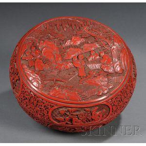 Large Cinnabar Circular Box and Cover