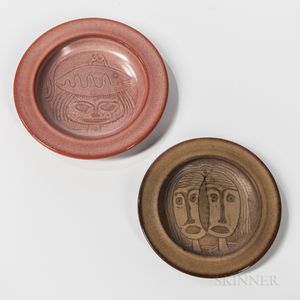 Two Mary and Edwin Scheier Studio Pottery Face Plates