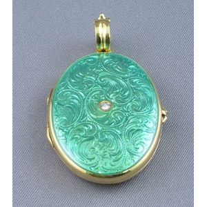 German 18kt Gold and Turquoise-colored Enamel Locket.