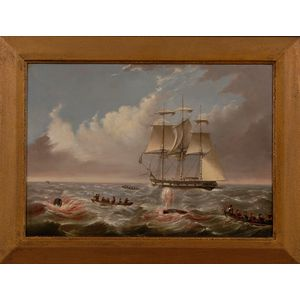 Anglo/American School, 19th Century      Lot of Two:  Whalers, Longboats, and Crews Engaged in the Pursuit of Whales.