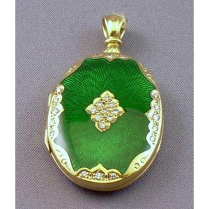 German 18kt Gold, Green Guilloche Enamel, and Diamond Locket.