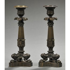 Pair of Charles X Bronze Candlesticks