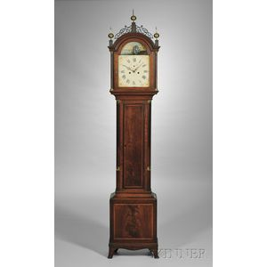 William Cummens Mahogany Tall Clock with Rocking Ship Automaton