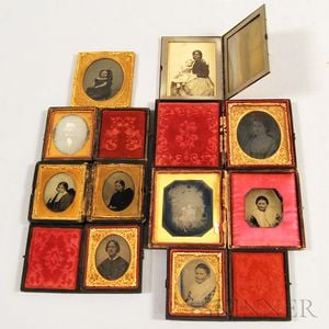 Eight Mostly Cased Daguerreotypes and Ambrotypes and a Cased Cabinet Card
