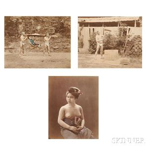 Japanese School, 19th Century      Three Photographs of Japanese Subjects, Including a Seminude Geisha