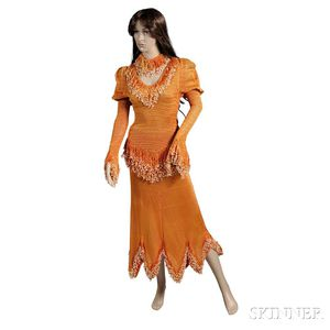 Jessi Colter     Orange Crocheted Tunic and Skirt