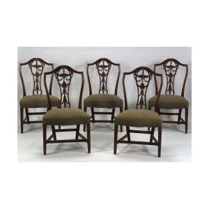 Set of Five Federal Mahogany Carved Pedestal Back Side Chairs