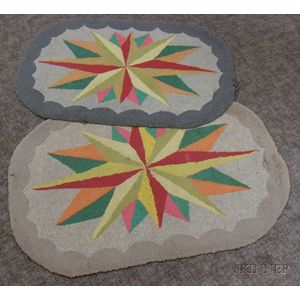 Near Pair of Oval Compass Star Pattern Hooked Rugs