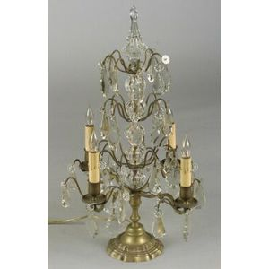 Pair of French Bronze and Colorless Glass-Mounted Four Light Candelabra