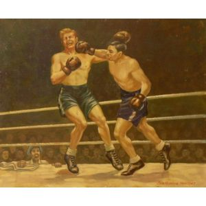Framed Oil on Canvas of Boxers, The Knockout