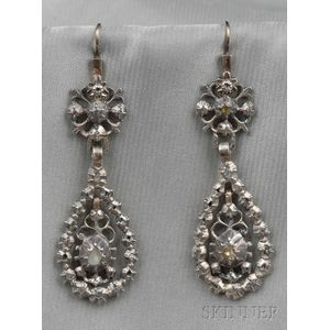Antique Silver and Rose-cut Diamond Earpendants