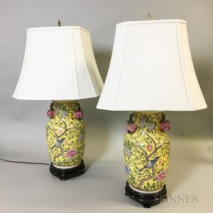 Pair of Famille Jaune Export-style Porcelain Vases