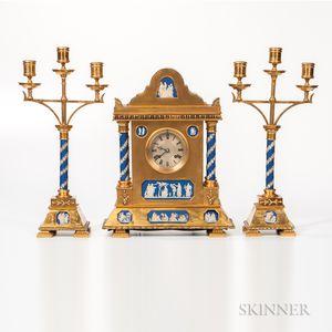 Three-piece Gilt-bronze-mounted and Wedgwood Jasper-inset Clock Garniture,