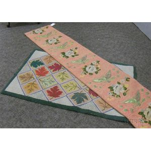 American Eagle and Floral Pattern Hooked Stair Runner and a Leaf Squares Pattern   Hooked Rug
