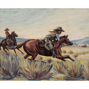 American School, 20th Century      Cowboys on Horseback
