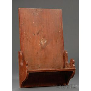 Red-stained Pine Hanging Clock Shelf