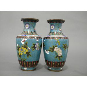 Pair of Cloisonné Enameled Vases