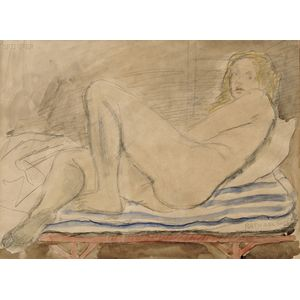 Raphael Soyer (American, 1899-1987)      The Blue Striped Cushion/Portrait of a Reclining Nude