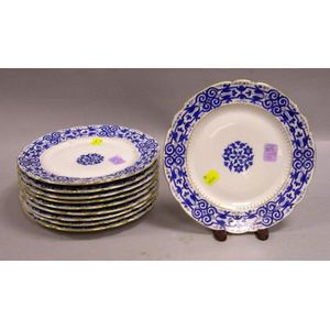 Set of Ten Austrian Gilt and Blue Enamel Decorated Porcelain Luncheon Plates.