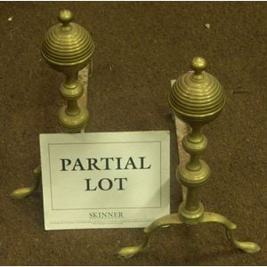 Pair of Brass Turned Ball-top Andirons and a Fender