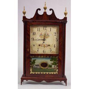 Federal Mahogany Pillar and Scroll Mantel Clock